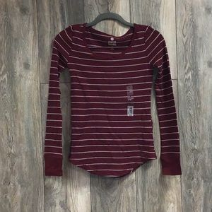 NEW SO Long Sleeve Striped Crew Thermal